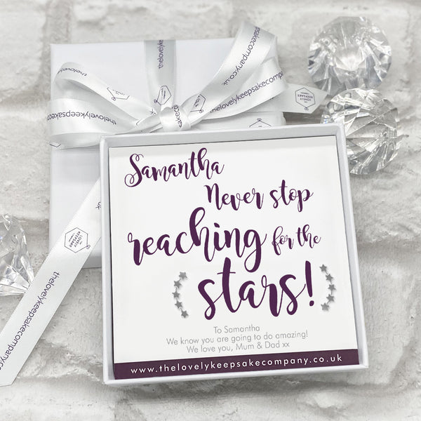 Sterling Silver Stars Earline Earrings Personalised Gift Box - Various School Leaver Messages