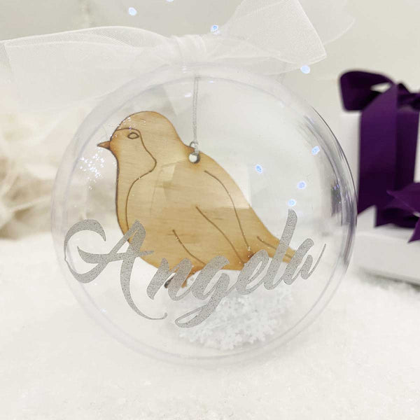 Personalised Wooden Hanging Robin Bauble