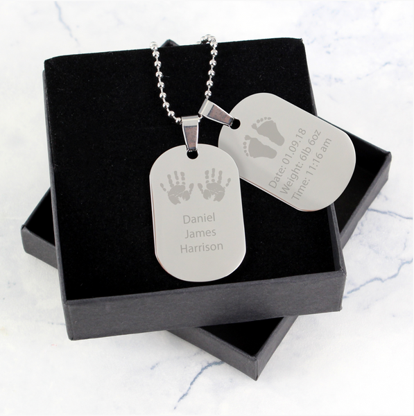 Personalised Hands and Feet New Baby Stainless Steel Double Dog Tag Necklace