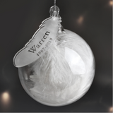 Personalised White Feather Name & Date Glass Bauble