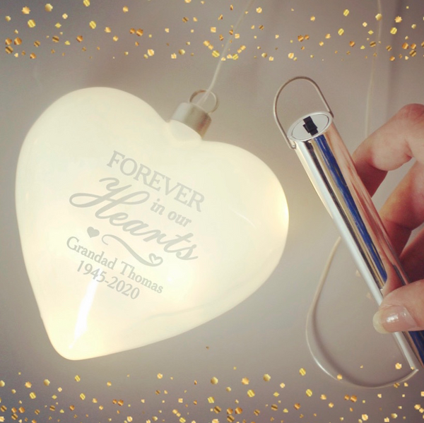 Personalised Christmas LED Hanging Glass Heart - Memorial