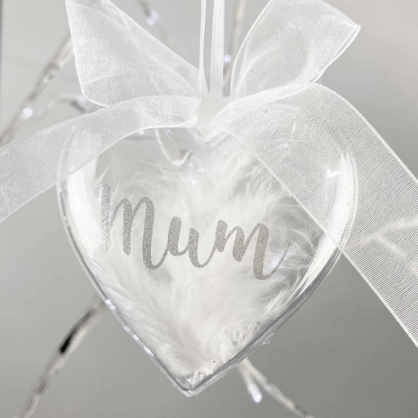 Personalised Feather Filled Heart Memorial Glass Bauble 10cm