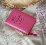 Leather 5 Year Diary in hot pink or aqua