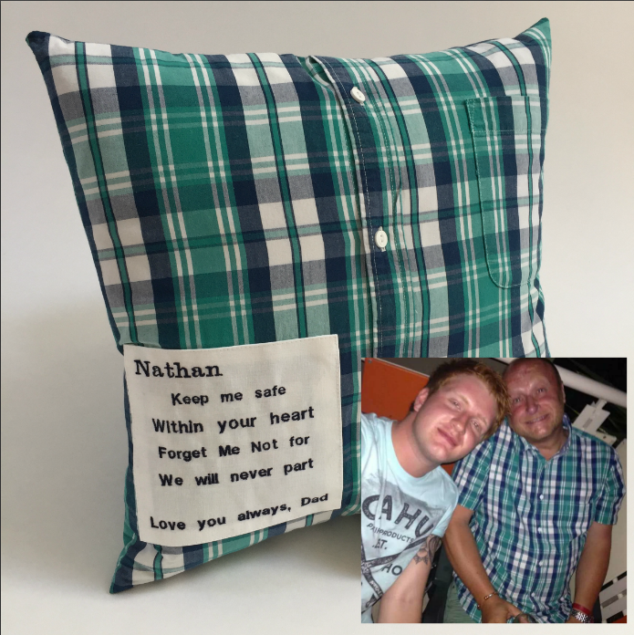 Memory pillow made from shirts This is a shirt I used to wear