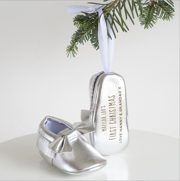 Personalised First Christmas Bootie Tree Decoration