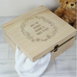 Personalised Floral Wreath Large Wooden Keepsake Box