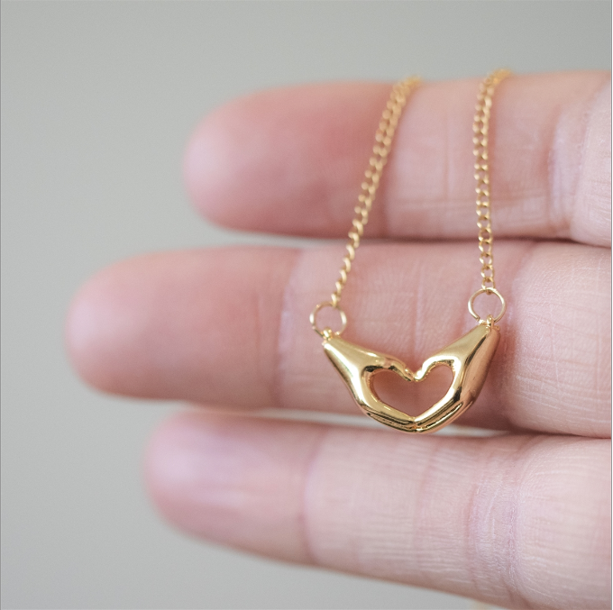 Love You Heart & Hands Necklace