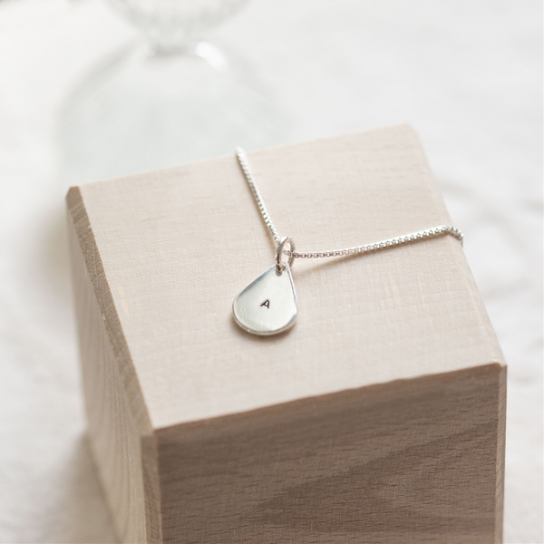 Initial Stamped Sterling Silver Teardrop Necklace