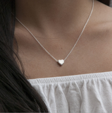 Tiny Sterling Silver Heart Necklace