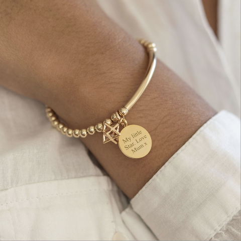 Personalised Cosmic Gold Bracelet with Star Charm and Token
