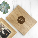 Oak Photo Keepsake Box with Initials in a Heart/Diamond/Circle