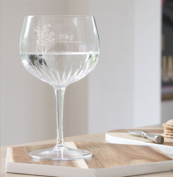 Birth Flower Crystal Cut Personalised Gin Glass