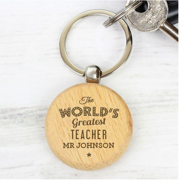 Personalised World Greatest Teacher Wooden Keyring