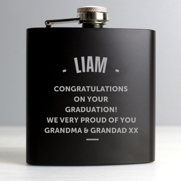 Personalised Black Hip Flask - Any Message