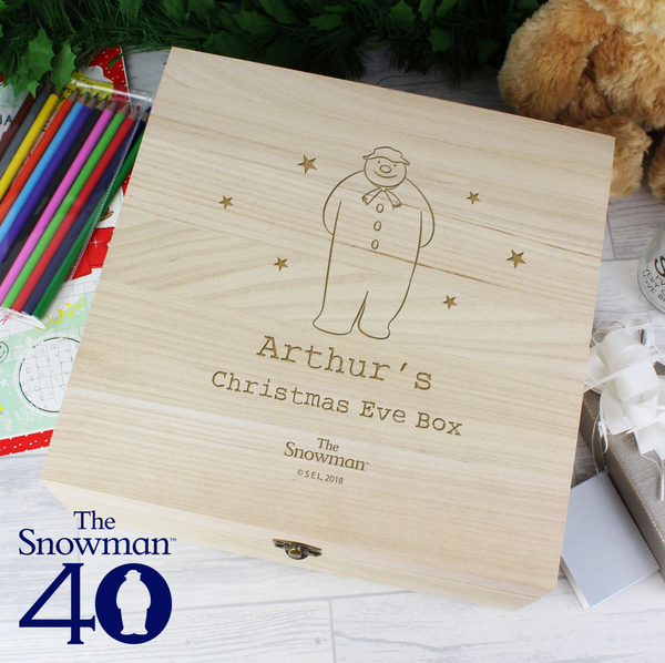 Personalised The Snowman Wooden Christmas Eve Box