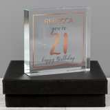 Personalised Birthday Rose Gold Crystal Token