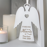 Forever In Our Hearts Personalised White Wooden Angel Decoration