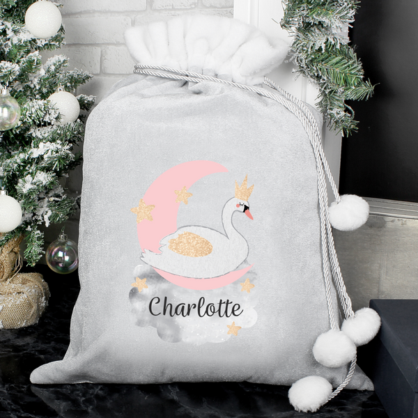 Personalised Swan Luxury Silver/Grey Christmas Sack