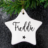 "Personalised ""Name"" Ceramic Star Decoration"