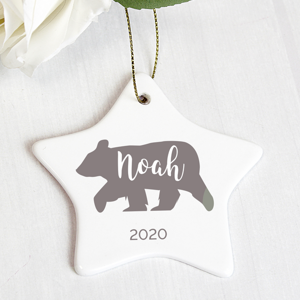 "Personalised ""Bear"" Ceramic Star Decoration"