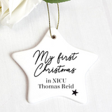 "Personalised ""First Christmas in NICU"" Ceramic Star Decoration"