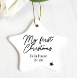 "Personalised ""Any Message"" Ceramic Star Decoration"