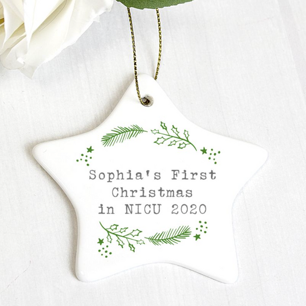 "Personalised ""First Christmas in NICU"" Holly Design Ceramic Star Decoration"