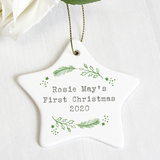 "Personalised ""Any Message"" Holly Design Ceramic Star Decoration"