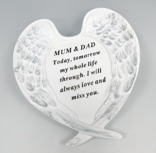Memorial Mum & Dad Large White and Silver Angel Wings Plaque