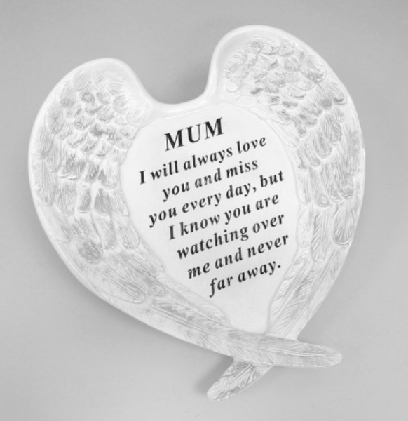 Memorial Mum White & Silver Large Angel Wings Plaque