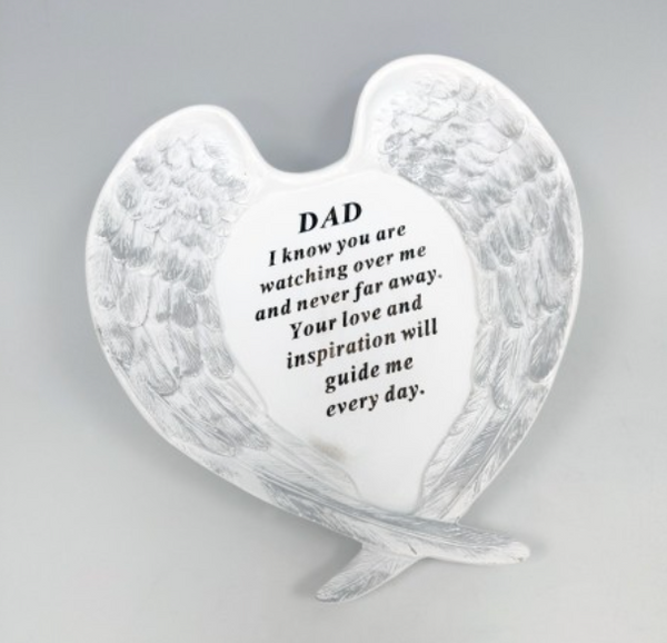 Memorial Dad White & Silver Large Angel Wings Plaque