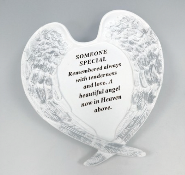Memorial Someone Special Large White and Silver Angel Wings Plaque