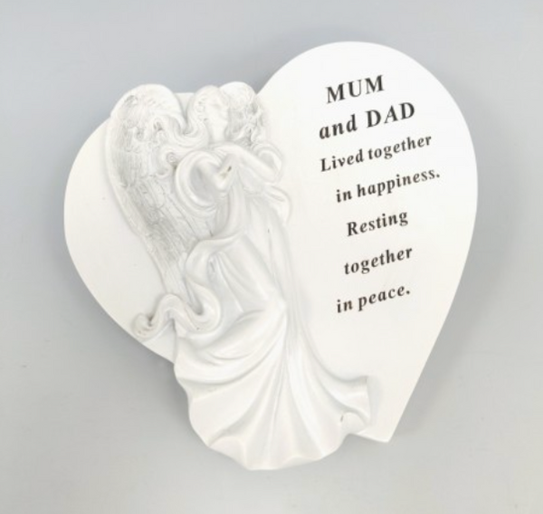 Memorial MUM & DAD White & Silver Angel Heart Plaque