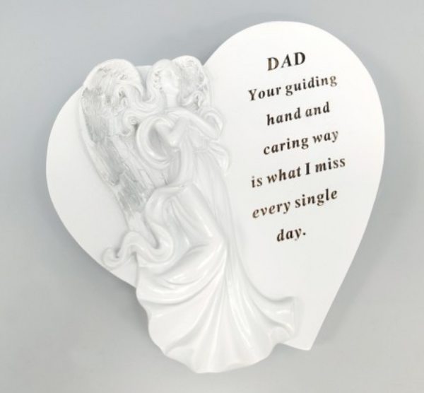 Memorial DAD White & Silver Angel Heart Plaque