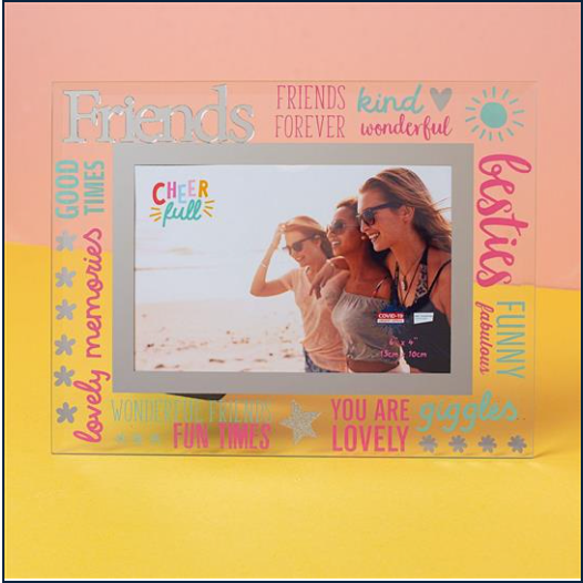 "6"" X 4"" Cheerful Glass Photo Frame- Friends"