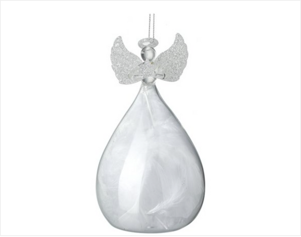 Personalised Clear Glass Feather Filled Angel