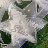 White Feather Filled Star Memorial Christmas Decoration