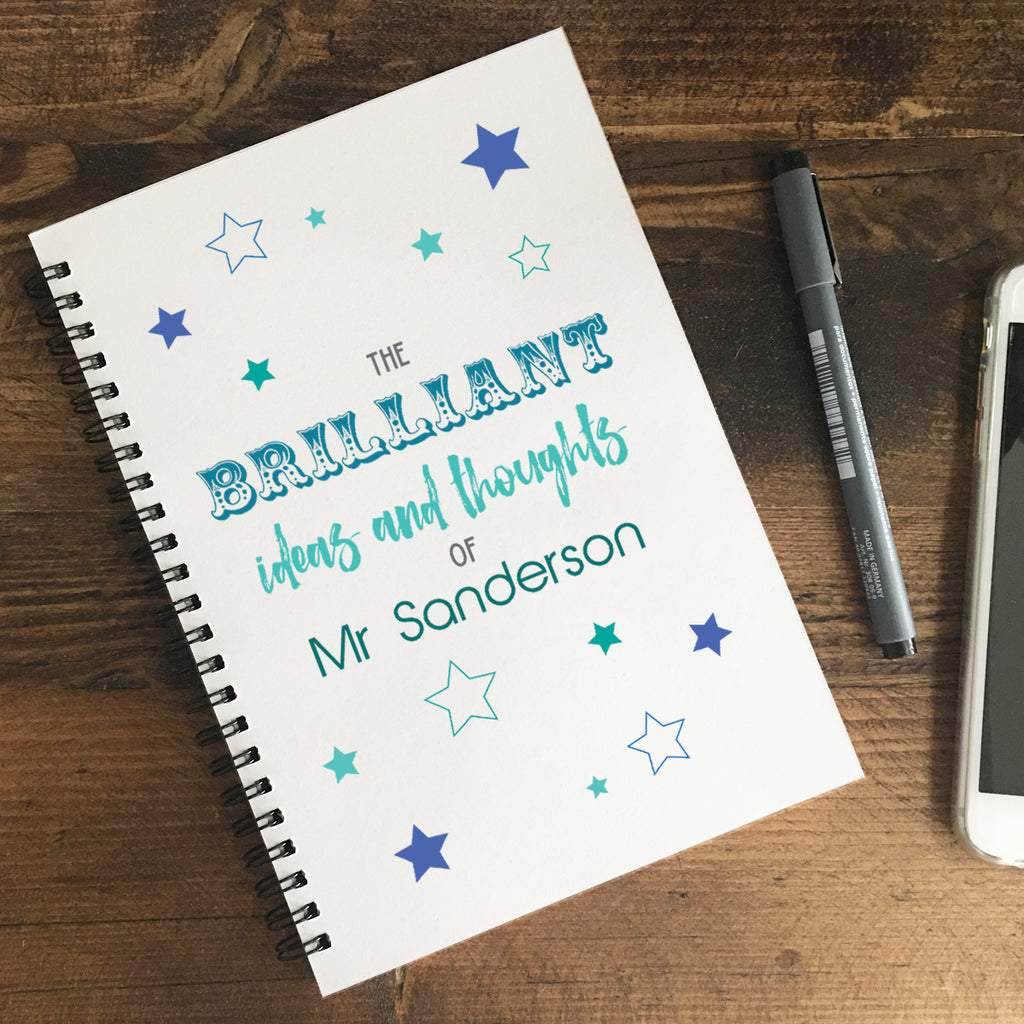 Personalised 'The Brilliant Ideas & Thoughts of' Notebook
