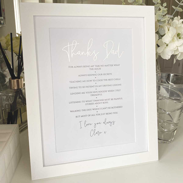 """Thanks"" Personalised Framed Print - Gold/Silver Foil"