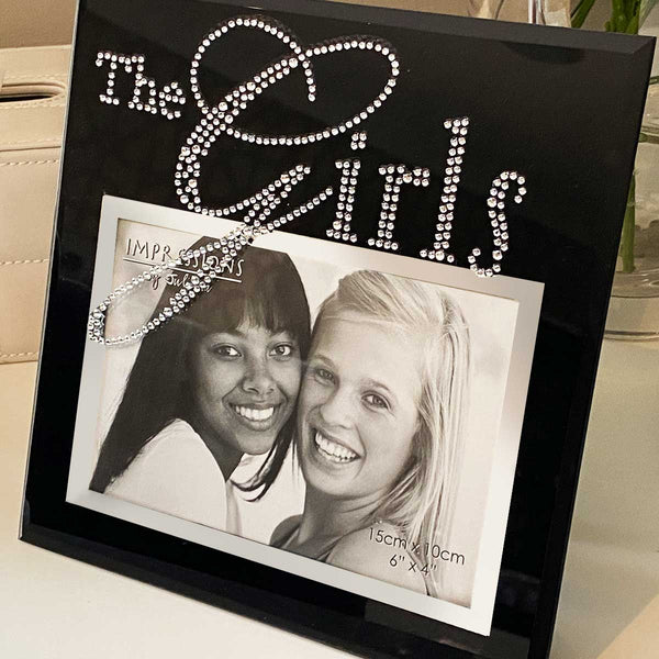 'The Girls' Photo Frame, Black Glass with diamanté's