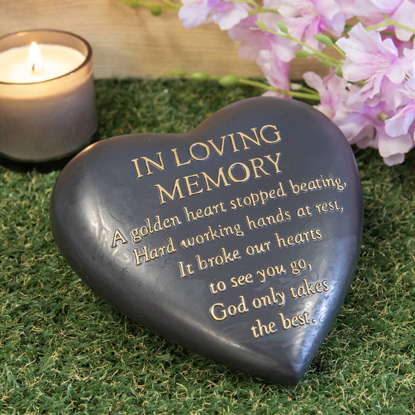 Thought  of you Grave Marker Dark Grey Heart Memorial Stone - In Loving Memory