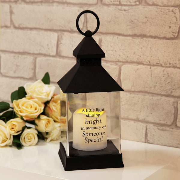 Thoughts of you Memorial Graveside Lantern in Black - Someone Special