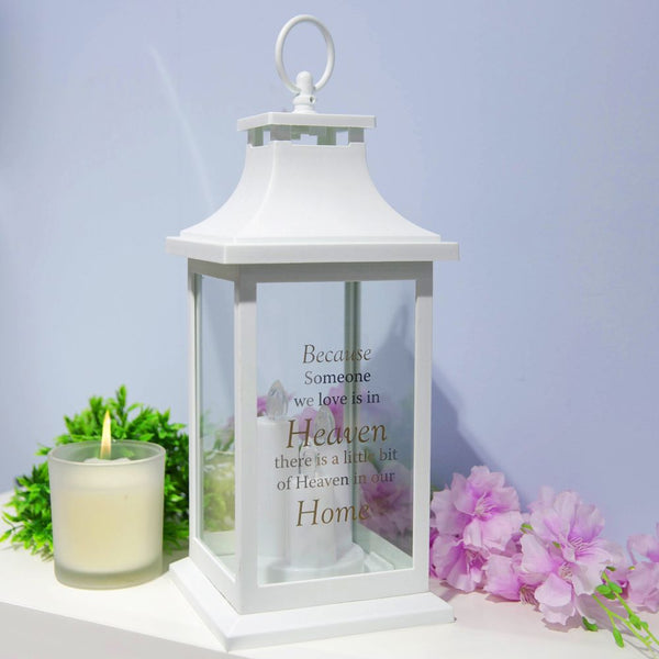 Thoughts of you Memorial Lantern in White- Heaven in our Home