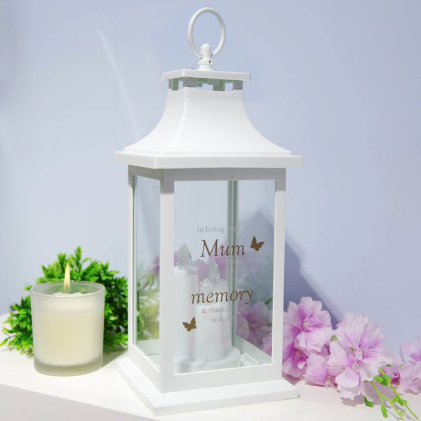 Thoughts of you Memorial Lantern in White- Mum I Miss You