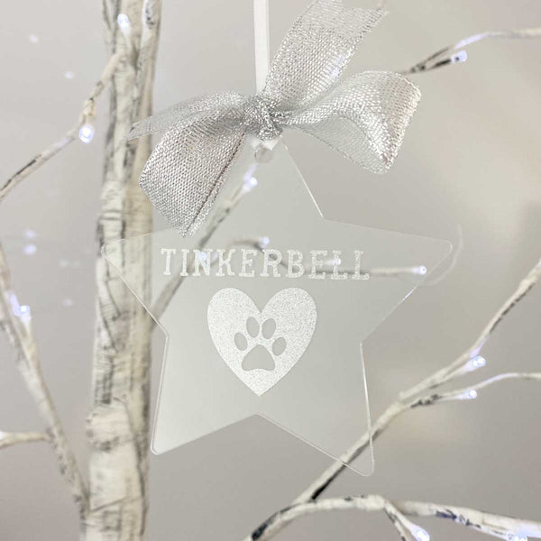 Personalised Pet Pawprint Memorial Acrylic Star