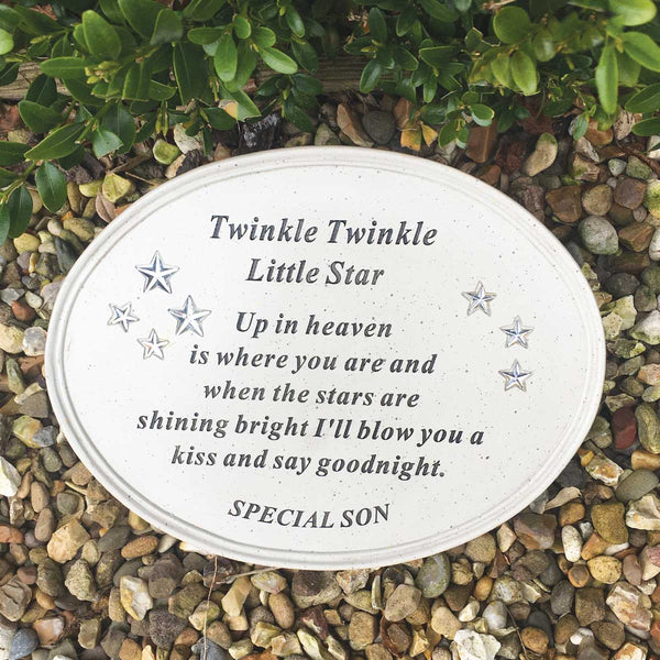 'Twinkle Little Star' Outdoor Memorial Plaque - Son