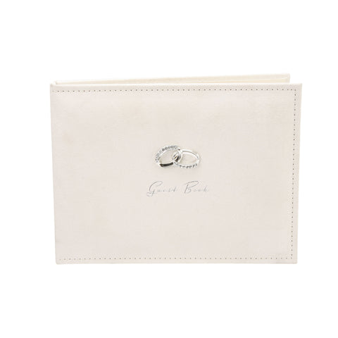 Cream Suede Wedding Guest Book with Silver Rings by Amore