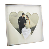 Amore Silverplated Wedding Box Frame with Twin Hearts Mr & Mrs