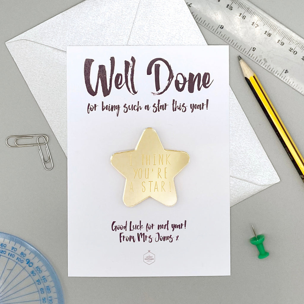 Personalised Magnet Gold Mirrored Star Card