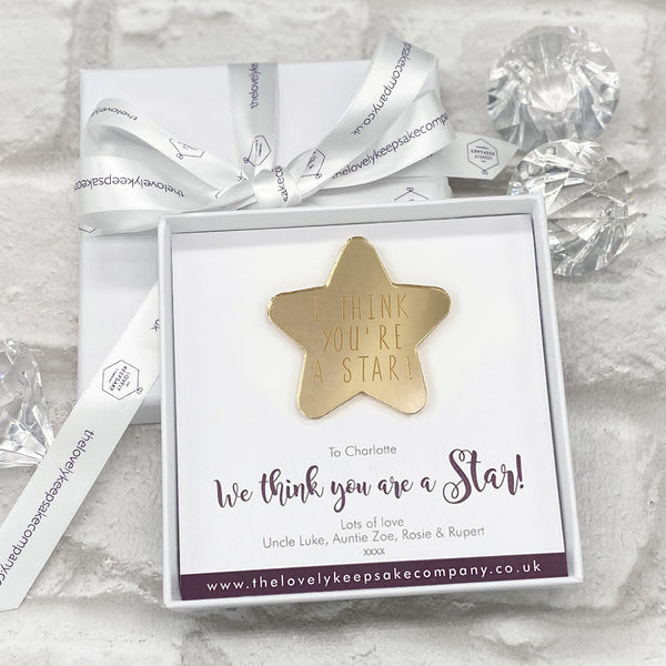 I Think You Are A Star Gold Mirrored Token Personalised Gift Box - Various Thoughtful Messages